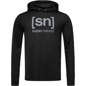 super.natural Alpine Hooded Sweater Men, jet black melange/vapor grey logo